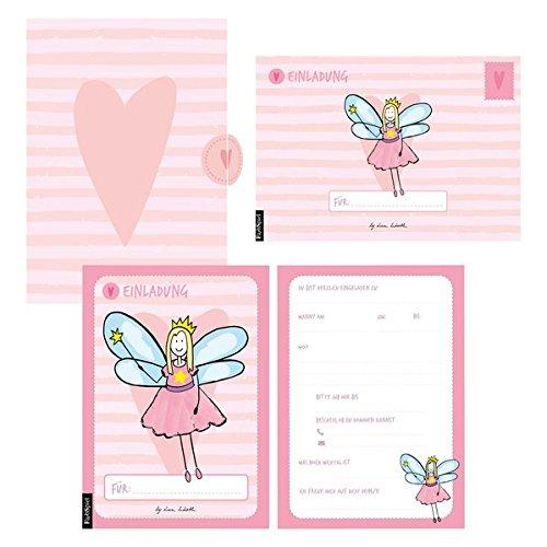12 Einladungskarten Geburtstag Mädchen (Feen). Handgemachte Einladungskarten Kindergeburtstag incl. 12 liebevollen Hand designten Briefumschlägen. ... hochwertigen Karton Box. By Lisa Wirth -