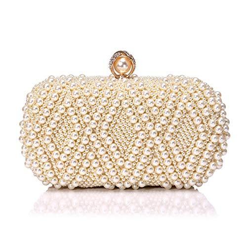 JBAG-one Perlen Clutch Bag, Frauen Abendtasche, Strass Umhängetaschen für Party, Braut Hochzeit Handtasche,beige - Strass Beige Handtasche