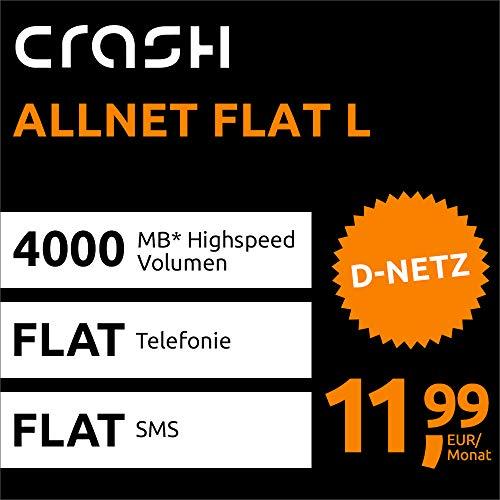 Crash Allnet Flat L mit 4 GB Internet Flat max. 21,6 MBit/s, Telefonie- und SMS-Flat in alle dt. Netze, EU-Flat, 24 Monate Laufzeit, 11,99 EUR monatlich, Triple-Sim-Karten