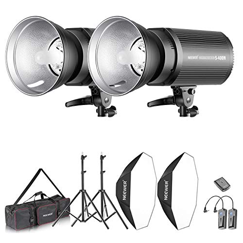 Neewer Strobe und Softbox Beleuchtung Set: 400W Monolicht Blitz+Bowens Montage+Lichtständer+Softbox+Modelllampe+RT-16 Drahtloser Auslöser+Tragetasche