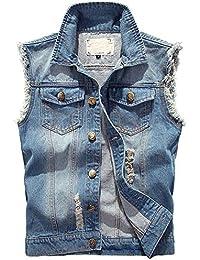 Hommes Rétro Déchiré Veste Denim sans Manches Gilets Ripped Jeans Veste Casual Outwear Classique