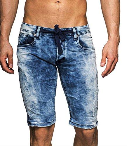 3006 One Public Herren Crumple Jeans Bermuda mit Stretch