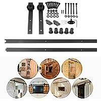 Homgrace 2M/6.6FT Kit de Rail pour Porte Coulissante Portes Intérieures Grange Armoire Hardware (style 2)