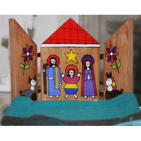 Petite Crèche Noël Triptyque en bois du Salvador peint à la main