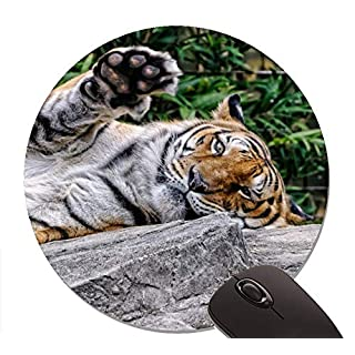 Amur Tiger Face Predator Paw Customized Round Non-Slip Rubber Print mouse pad 7.8 inch (200mm)