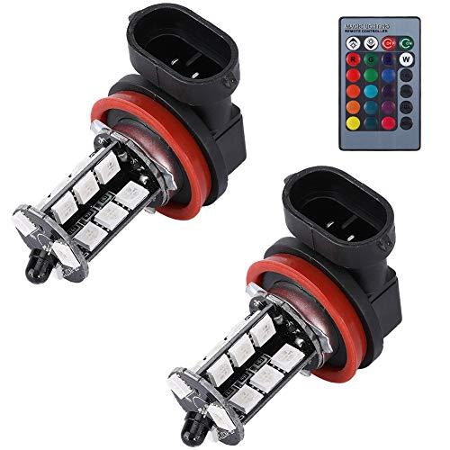 Gorgeri DC 12V Fendinebbia universale, 1 paio fari fendinebbia colorati Luci di supporto Telecomando 5050 Lampadine LED per auto RGB per H11 H8 H7 9006 9005 1156 3156 7440