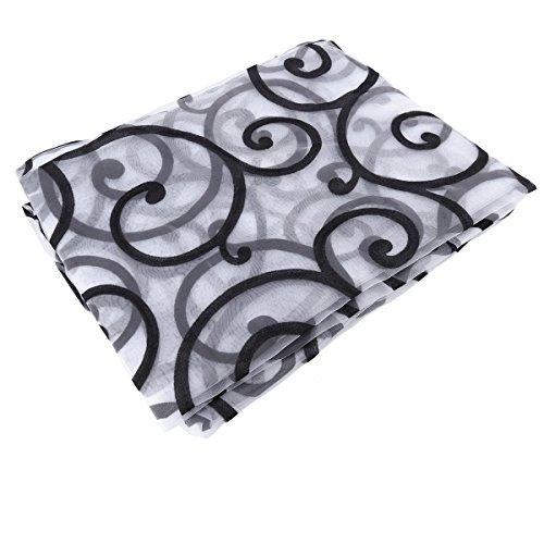 Winomo tende fiori trasparenti tende finestra tulle per camera da letto soggiorno 100x 200cm (nero)