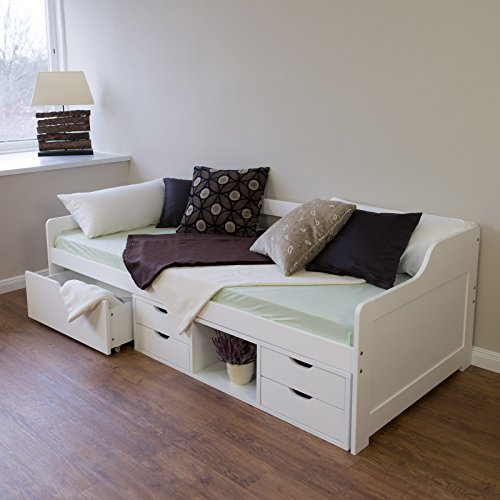 Homestyle4u Schrank Schublade Pin, Einzelbett, Holz, Weiß, 205x 96x 30cm