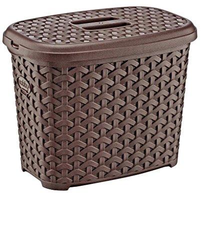 Maya Professional Tools 081081M Korb Waschmitteldose Rattan groß mit Deckel, 6Liter, marron -