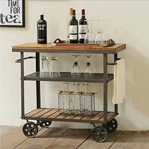 FPigSHS Wein-Wagen, Speisewagen-Weinregal, mobiles Multifunktions-Küchengestell, Sideboard (größe : 60 * 30 * 60cm) -