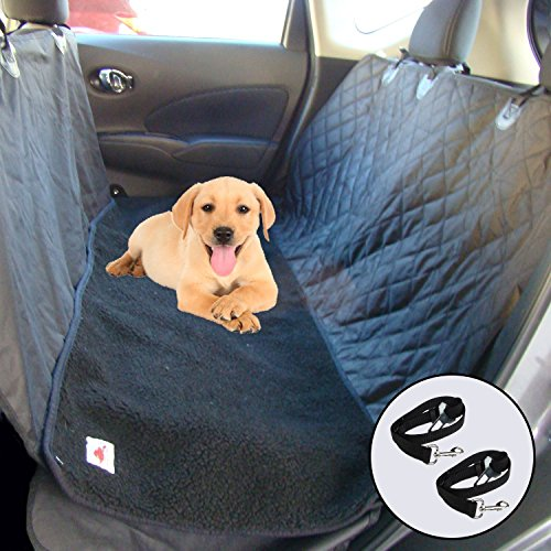 Dog Gone Dog Ultimate Pet Sitzbezug und Hund Hängematte für Autos, Suvs und mit Abnehmbarem Fleece Matte, Standard, Black-Snaps-EXT