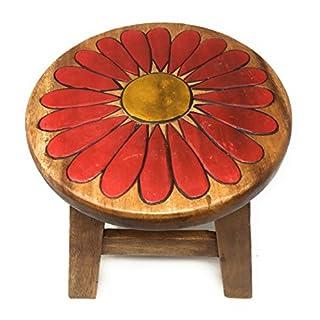 Agas Own Kinderhocker Holz Schemel Kinderstuhl Massivholz Bemalt und beschnitzt Höhe 25 cm (Ritterstern Blume)