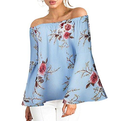 (MRULIC Damen Frauen beiläufiges Blumendrucken Weg von der Schulter-T-Shirt Langarm-Oberseiten-Bluse(Blau,EU-48/CN-3XL))