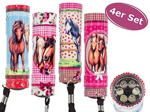 Unbekannt 4er Set kleine LED Kinder Taschenlampe Pferde (6 LED) 8,5 cm - Tolles Give Away