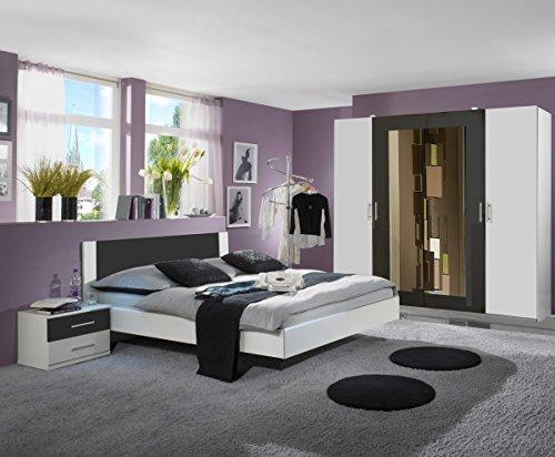 Dreams4Home Schlafzimmerkombination 'Cult III', Schlafzimmer, weiß, anthrazit, Kleiderschrank, Bett, Konsolen, Schlafzimmer, Liegefläche:180x200 cm