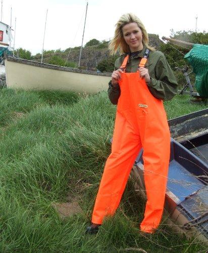 Ocean Classic Latzhose - Ölzeughose aus PVC auf Baumwollträger. DAS Ölzeug für den Profi (L, leuchtorange)