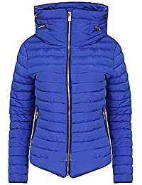Womens Ladies Quilted Padded Coat Bubble Puffer Jacket Fur Collar Hooded Thick [Royal Blue, UK L]
