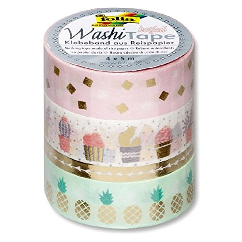 folia 26418 Deko-Klebeband Washi-Tape HOTFOIL Gold, 4er Set -