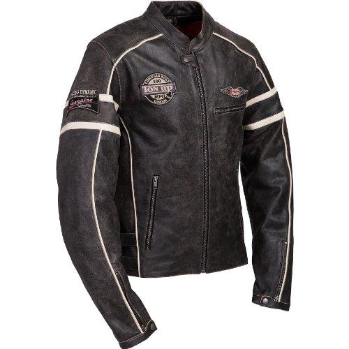 Motorradjacke Spirit Motors Retro-Style Lederjacke 1.0 schwarz/beige XXL - 4