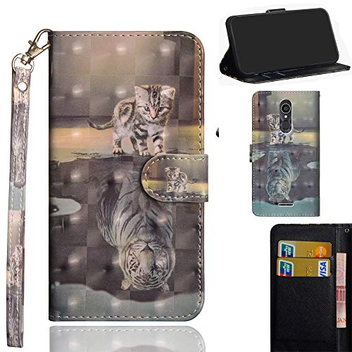 Ooboom Alcatel 3C Hülle 3D Flip PU Leder Schutzhülle Handy Tasche Case Cover Ständer mit Trageschlaufe Magnetverschluss für Alcatel 3C - Katze Tiger
