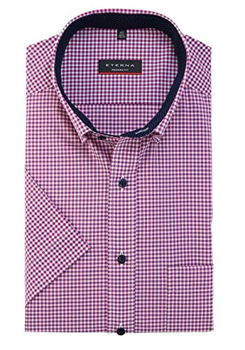 Eterna Half Sleeve Shirt Modern Fit Poplin Checked Rosa/Grigio