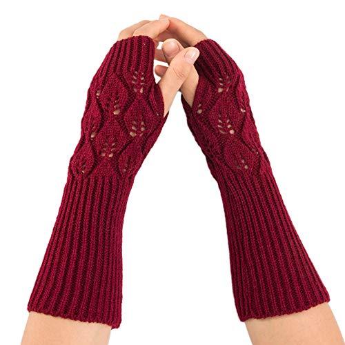 Yazidan Frauen-Winter Warme Geflochten Stricken Fingerlose Handschuhe Einfarbig-Handgelenk-Arm-Wärmer-Fester Gestrickter kurzer fingerloser Handschuh Gloves Mitten Pulswärmer Hand-Stulpen