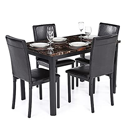 5PCS Modern Kitchen Dining Room Table Chair Set for 4 Person Beautiful Marble-like Top Max 180kg Load Capacity