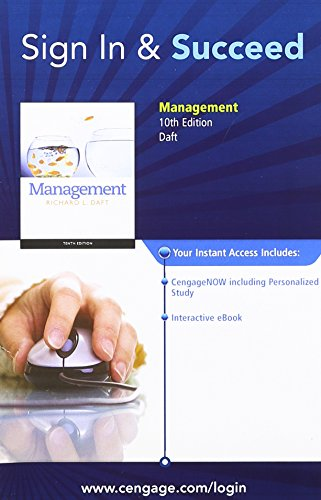 CengageNOW Printed Access Card for Daft's Management, 10th