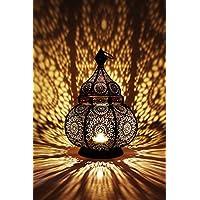 Orientalische Laterne aus Metall Ziva 30cm   orientalisches Windlicht schwarz   Marokkanische Metalllaterne für draußen als Gartenlaterne, oder Innen als Tischlaterne   Marokkanisches Gartenwindlicht hängend oder zum hinstellen
