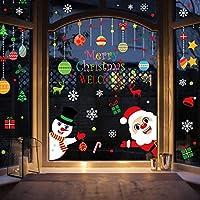 LOKIPA 8 Sheet 120PCS Christmas Window Clings Static Snowflakes Window Clings Decals for Christmas Window Display