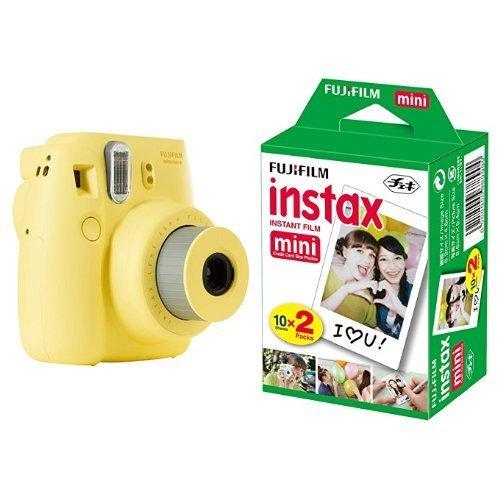 Fujifilm instax mini 8 fotocamera istantanea per stampe formato 62x46 mm, giallo + fujifilm instax mini film 10 pellicola instantanea per instax mini 7s, mini 25 e mini 50s, set 2 pezzi