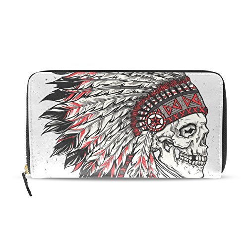 Franzibla Native American Indian Art Prints Women's Clutch Leather long Wallet Card Holder Purse Bag