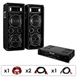 DJ-24 PA SET mit 1200 Watt Verstärker & 1200 Watt PA Boxen + Kabel-Set (für bis zu 150 Personen, 4 x 16cm Subwoofer, Stereo-Cinch-Eingang für MP3-Player)