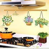 acmebuy £ ¨ TM) cesta colgante maceta Tres Generaciones de adhesivos decorativos para pared estética rústica decoración adhesivo