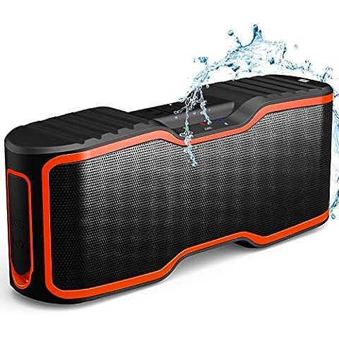 Imperméable Enceinte IPX7 Portable Sans fil Bluetooth étanche, AOMAIS Sport extérieur/douche Haut-parleur Portable Bluetooth avec 10W basse Renforcée, Microphone intégré Pour iPhone/ iPad/ iPod/ Android phone