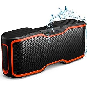Wireless Bluetooth Lautsprecher, AOMAIS Wasserdichter IP67 Tragbarer Outdoor Lautsprecher mit 10w Stereo Subwoofer, Bluetooth 4.0, Mini Lautsprecher für Smartphone/iPod/MP3/iPad/Laptop/PC(Orange)