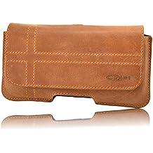 Holster pour votre téléphone Samsung Galaxy S7Edge Étui et passant de ceinture avec clip slim design Étui en cuir véritable étui housse de orline à la main Marron avec fermeture magnétique