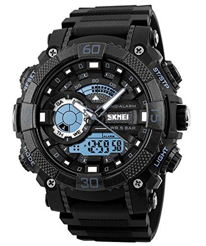 Herren Jugendliche Jungen Digital Sportuhr Männer Digital Analog Doppelzeit Militär 50M Wasserdicht Armbanduhr Großes Gesicht Elektronisch Stoßfest LED Digital Uhr mit Stoppuhr für Männer Grau