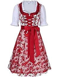 KOJOOIN Trachten Damen Dirndl Kurz/Lang - Midi Trachtenkleid für Oktoberfest - DREI Teilig: Kleid, Bluse, Schürze Rot 44/XL