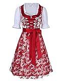 KoJooin Trachten Damen Dirndl Kurz/Lang - Midi Trachtenkleid für Oktoberfest - Drei Teilig: Kleid, Bluse, Schürze Rot 42/L