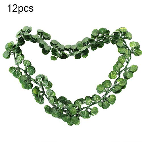 Duokon Künstliche Weintraube Ivy Leaf Trim Vine gefälschte Laub Blume Pflanze dekorative künstliche Pflanzen Hause Hochzeit Dekor(Efeublatt) - Ivy Leaf Trim