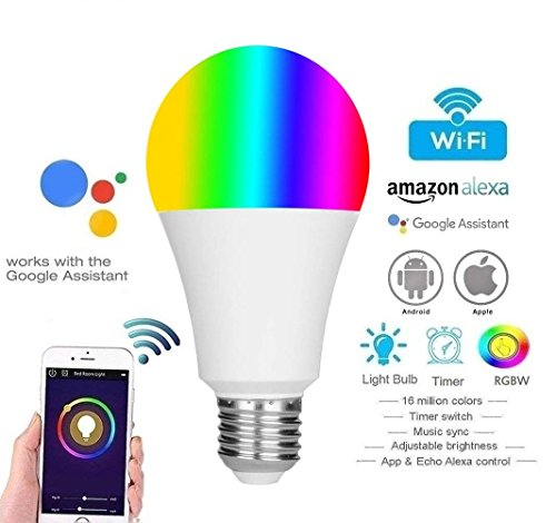 Led E27 Wi-Fi Lampen, WLAN Multi Farbe 11W, LED Smart, WIFI RGB + W2700-6400K, Glühbirne WIFI Alexa E27, Alexa-Stimmen-Intelligente Birnen-Licht-Handy WIFI Fernbedienung (6400K3) (E27 LED Lampen NEW)