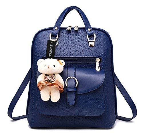 Imagen de tibes bolsa mujer mini  impermeable  de cuero  de estudiante azul zafiro