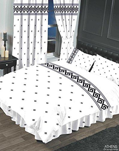 Athen weiß/schwarz, für Doppelbetten, Bettbezug/Bettwäsche-Set, HICO, Griechisch Schlüssel/Seil Effekt (Dark Tan-bettwäsche-set)