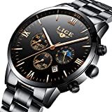 Best Men Watches - Mens Watches LIGE Stainless Steel Black Classic Luxury Review