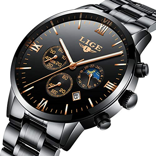 Montres des hommes montres LIGE en acier inoxydable classique noir de luxe des montres occasionnelles avec la phase de lune etanche chronographe sport montre-bracelet de quartz pour les hommes