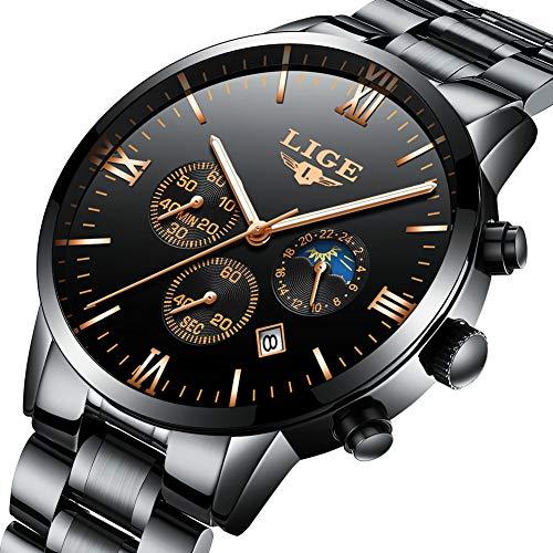 LIGE Relojes Moda Negro Impermeable Acero Inoxidable Analógico Cuarzo Reloj De Lujo Negocios Fecha Cronógrafo