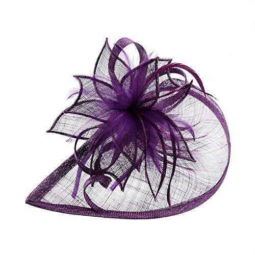 Pandahall,Mujeres joyeria para la fiesta del carnaval,accesorio del pelo,tocado de pluma y banda con flor de organza,Purpura oscura,120mm