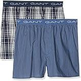 GANT Herren Boxershorts 2-p Boxer Shorts Check/Stripe, Blau (Navy), X-Large