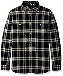 French Connection Mens Yarn Dyed Twill Overcheck Button Down Shirt, Black, XL